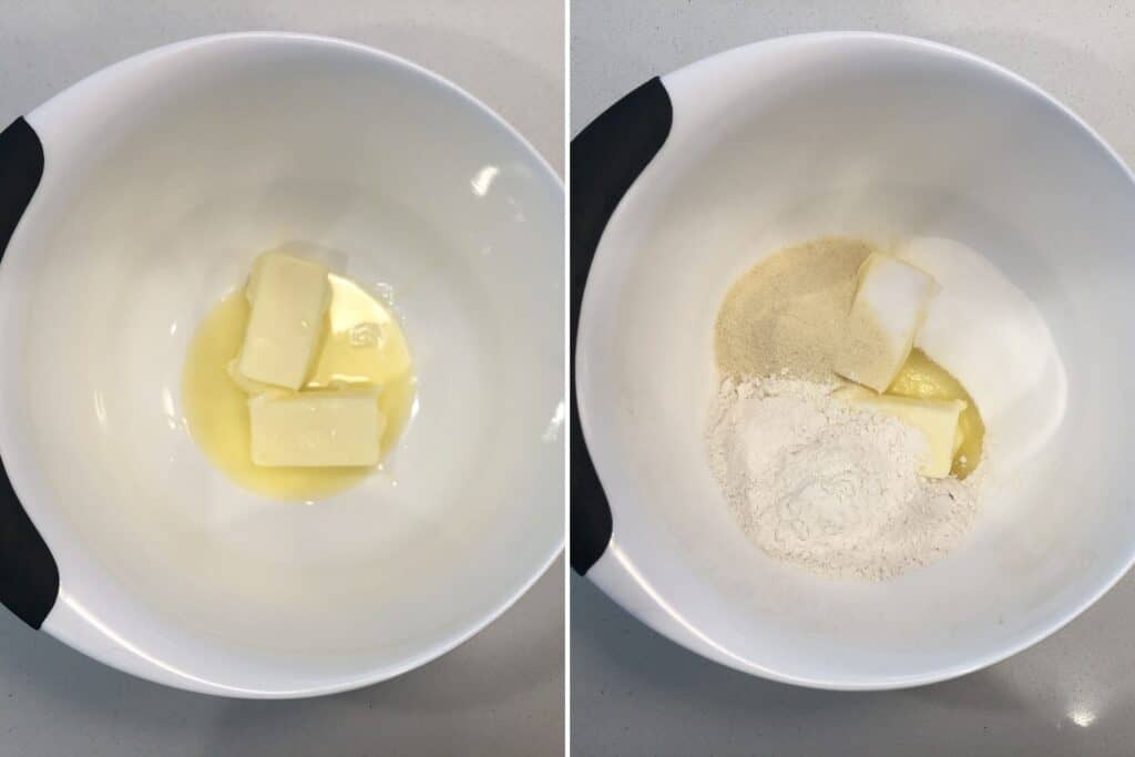 Comine melted butter, sugar, semolina and all-purpose flour.