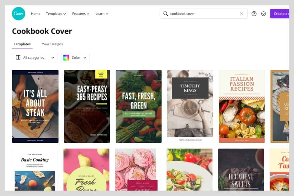 examples of cookbook cover templates in Canva