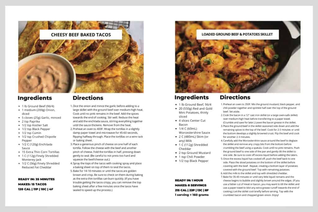 two examples of resized and custom recipe cards made in Canva