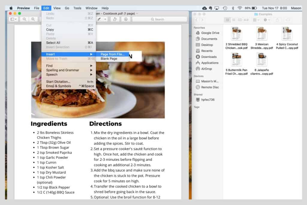 using Preview in Mac to combine PDF files