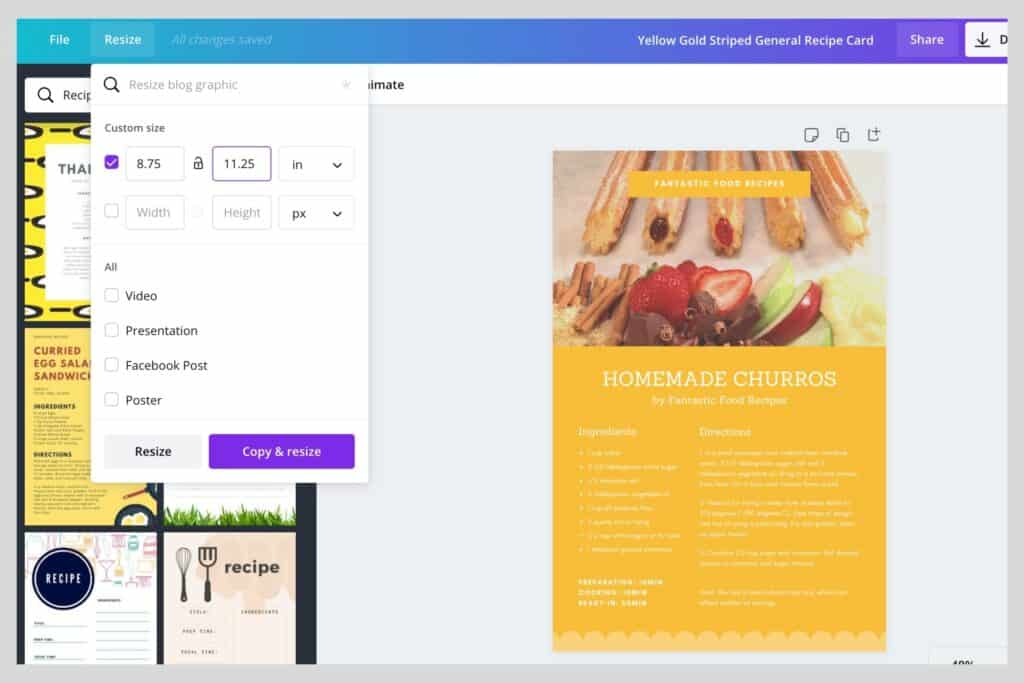 resize images on Canva using the resize toolbar at the top left