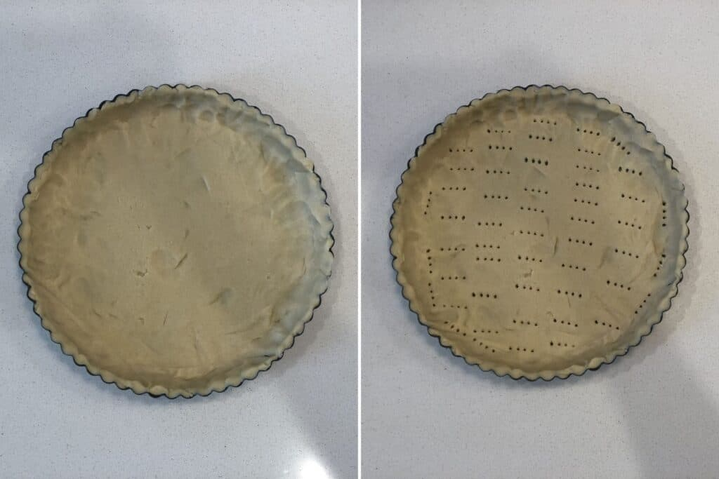 line baking tin with rolled out dough and prick with a fork