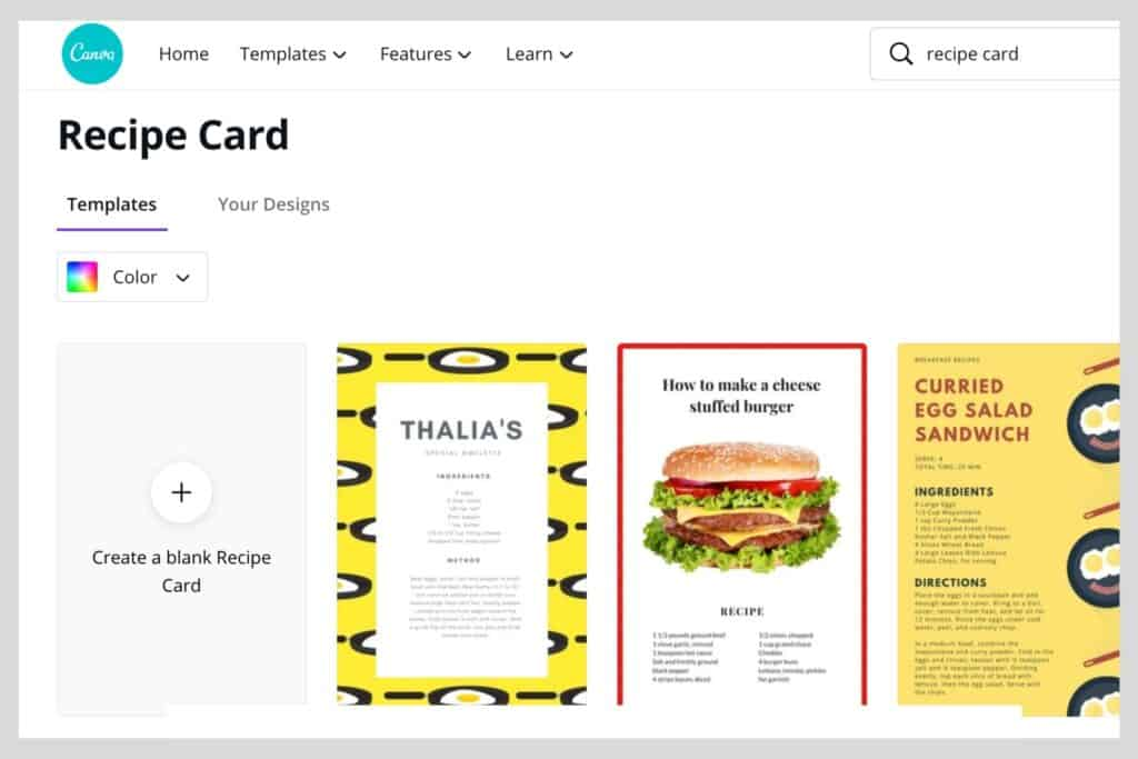 exampes of recipe card templates on Canva