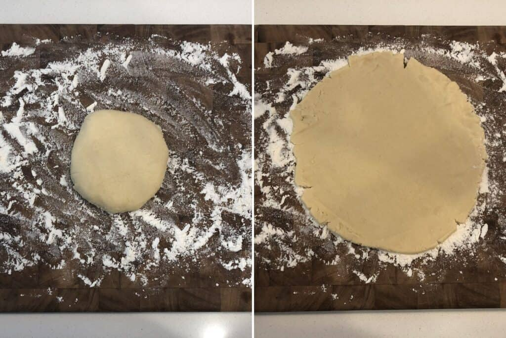 roll out chilled dough on a floured surface