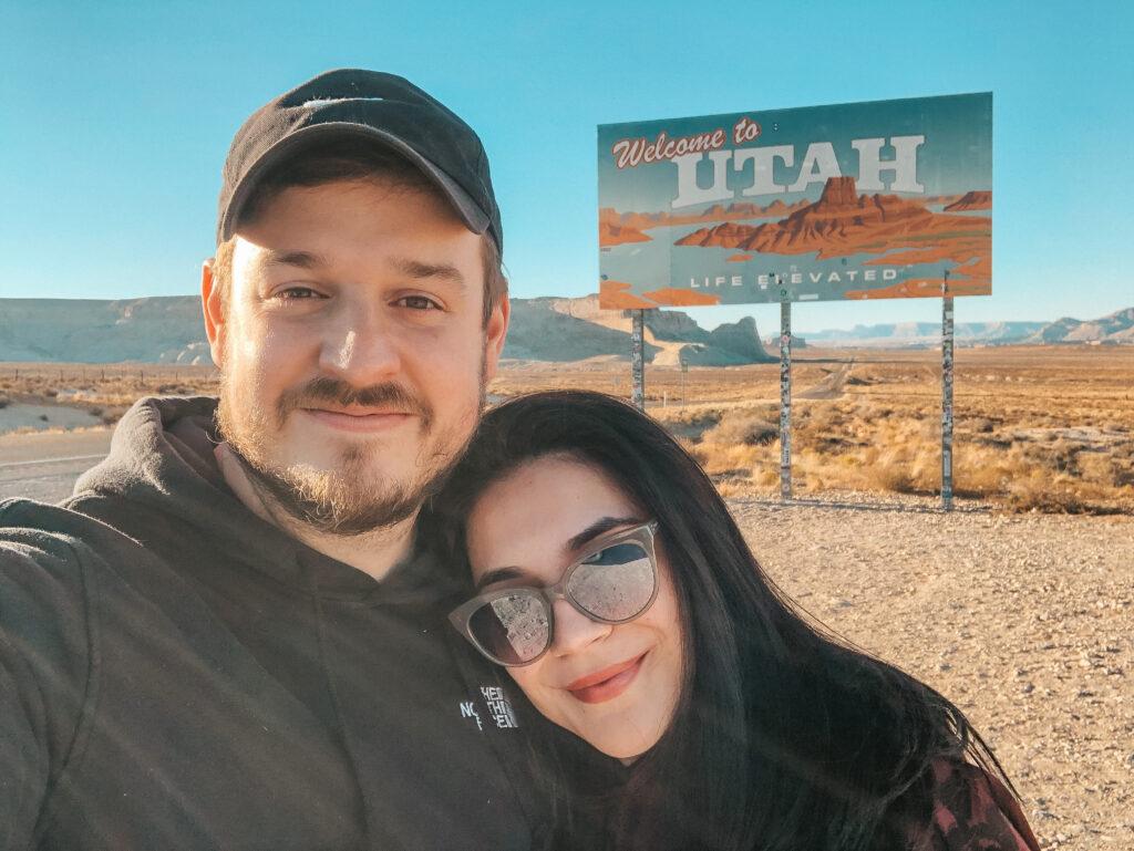 vanessa and mason woodruff at the Utah state line