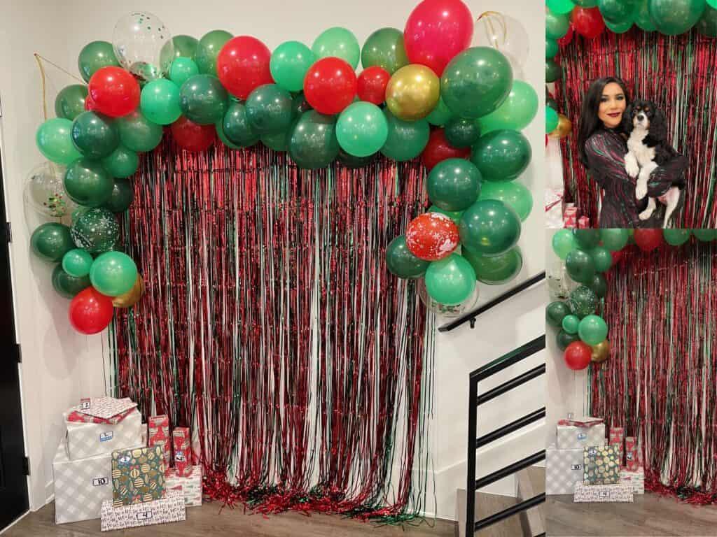 Balloon garland and curtain backdrop for photos.