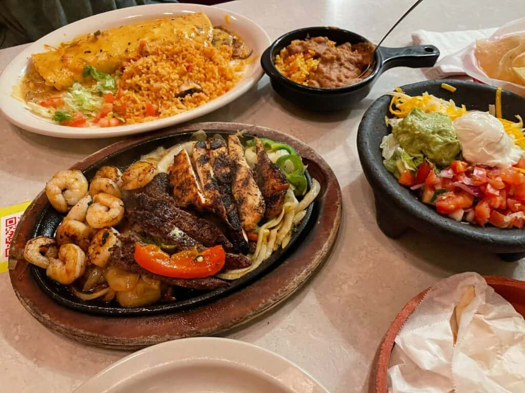 burrito and fajitas from Chuy's Tex Mex