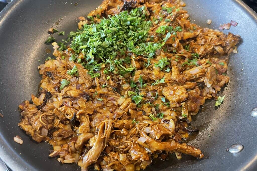 leftover bbq chicken with sautéed red onion and parsley