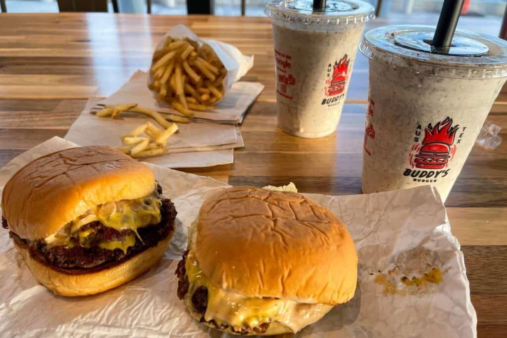 burgers and Oreo milkshakes