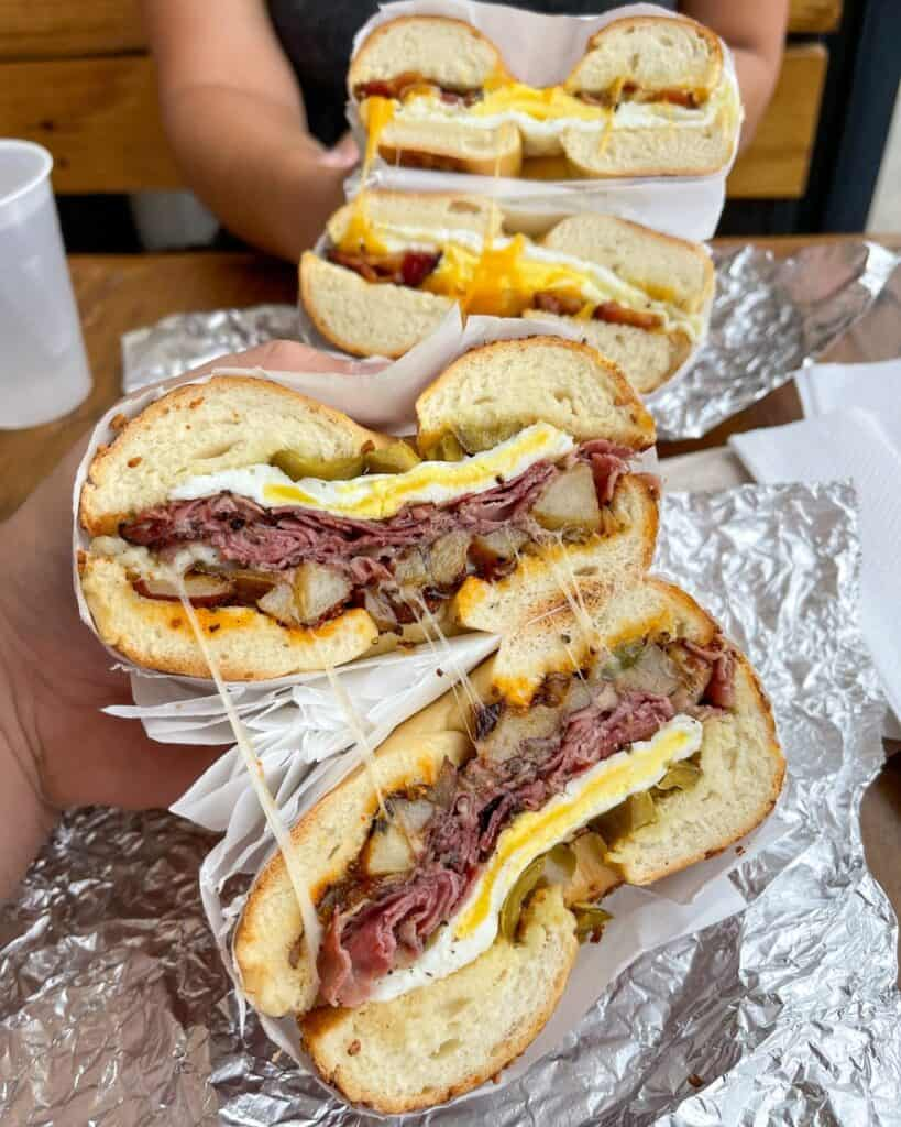 pastrami hash bagel and bacon egg and cheese bagel from Nervous Charlie's
