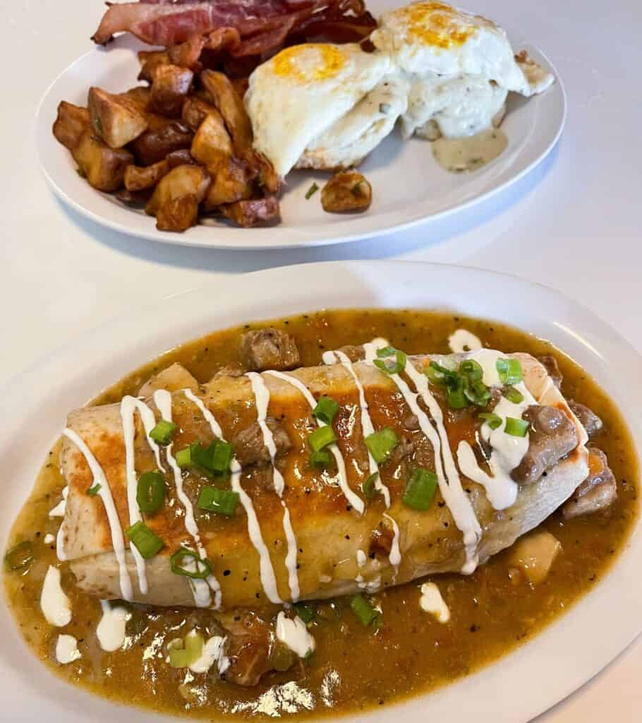 breakfast burrito and biscuits and gravy from Sawyer & Co. in Austin, Texas