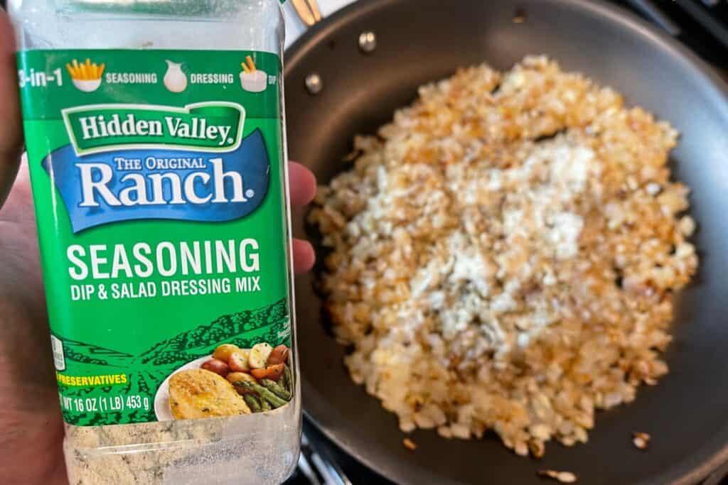 sautéed onions and garlic with ranch seasoning