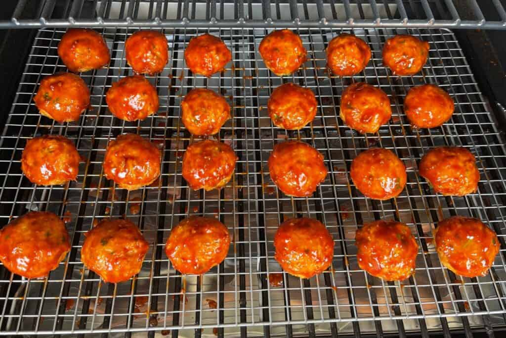 bbq glazed meatballs after smoking for an hour at 300ºF
