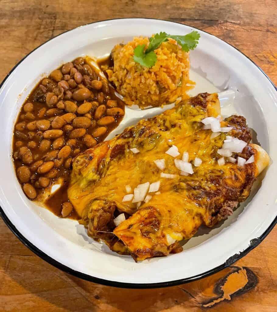 brisket enchiladas from Stiles Switch in Austin, Texas