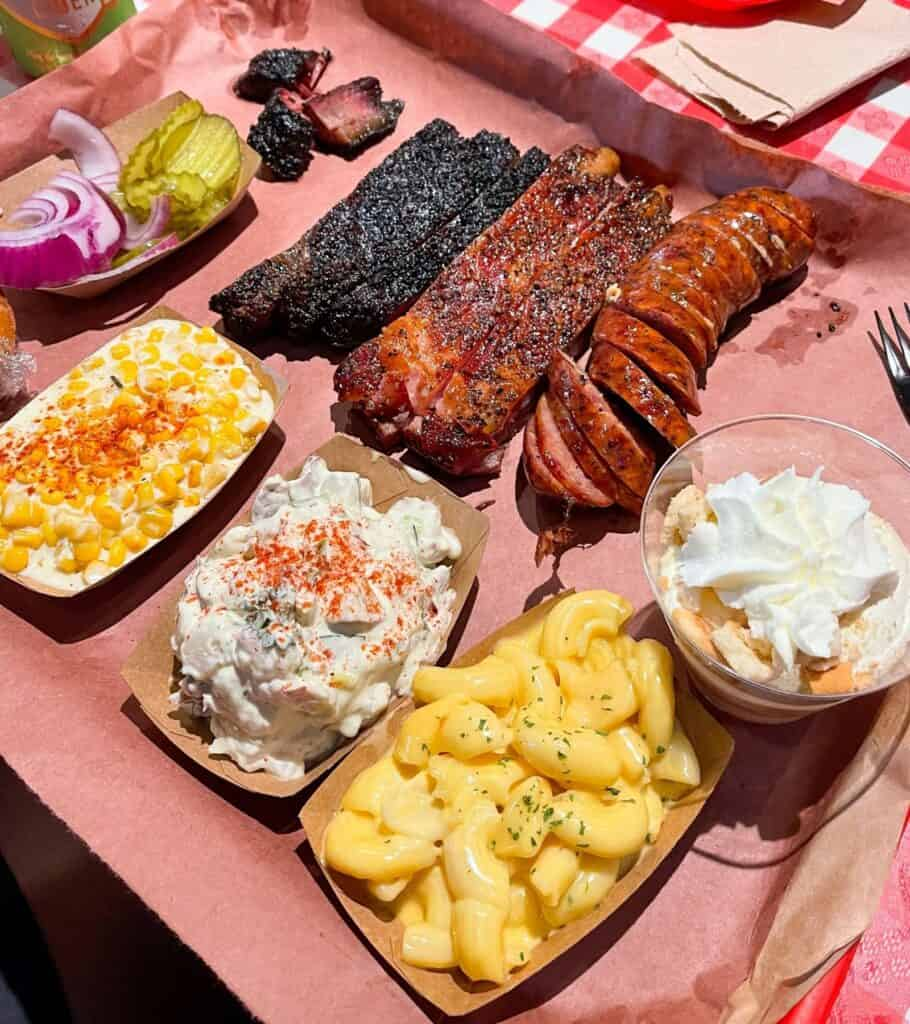 brisket, ribs, sausage, and sides from Terry Black's in Austin