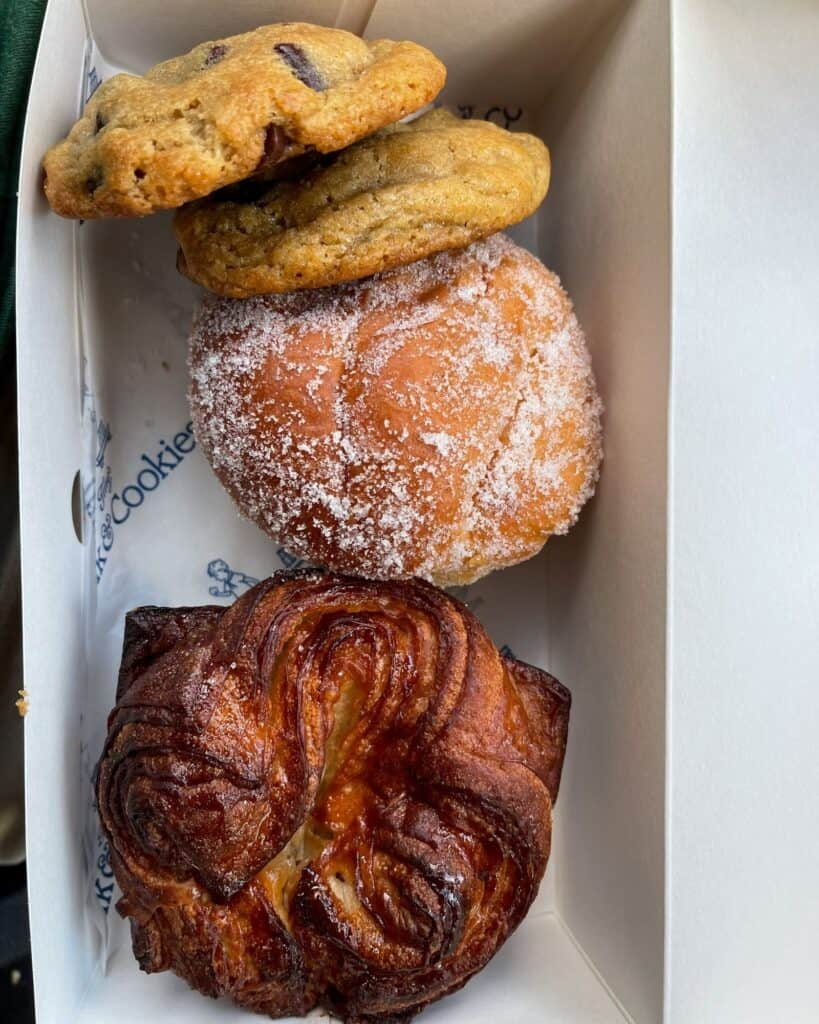 chocolate chip cookies and pastries from Tiny's Milk & Cookies in Austin, Texas