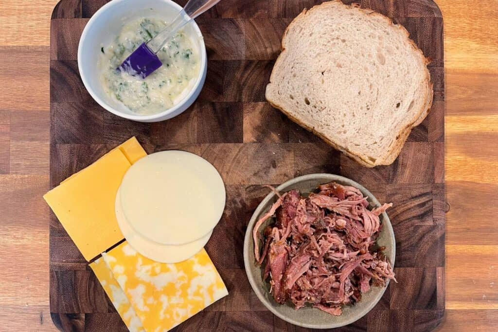 ingredients for pulled pork grilled cheese