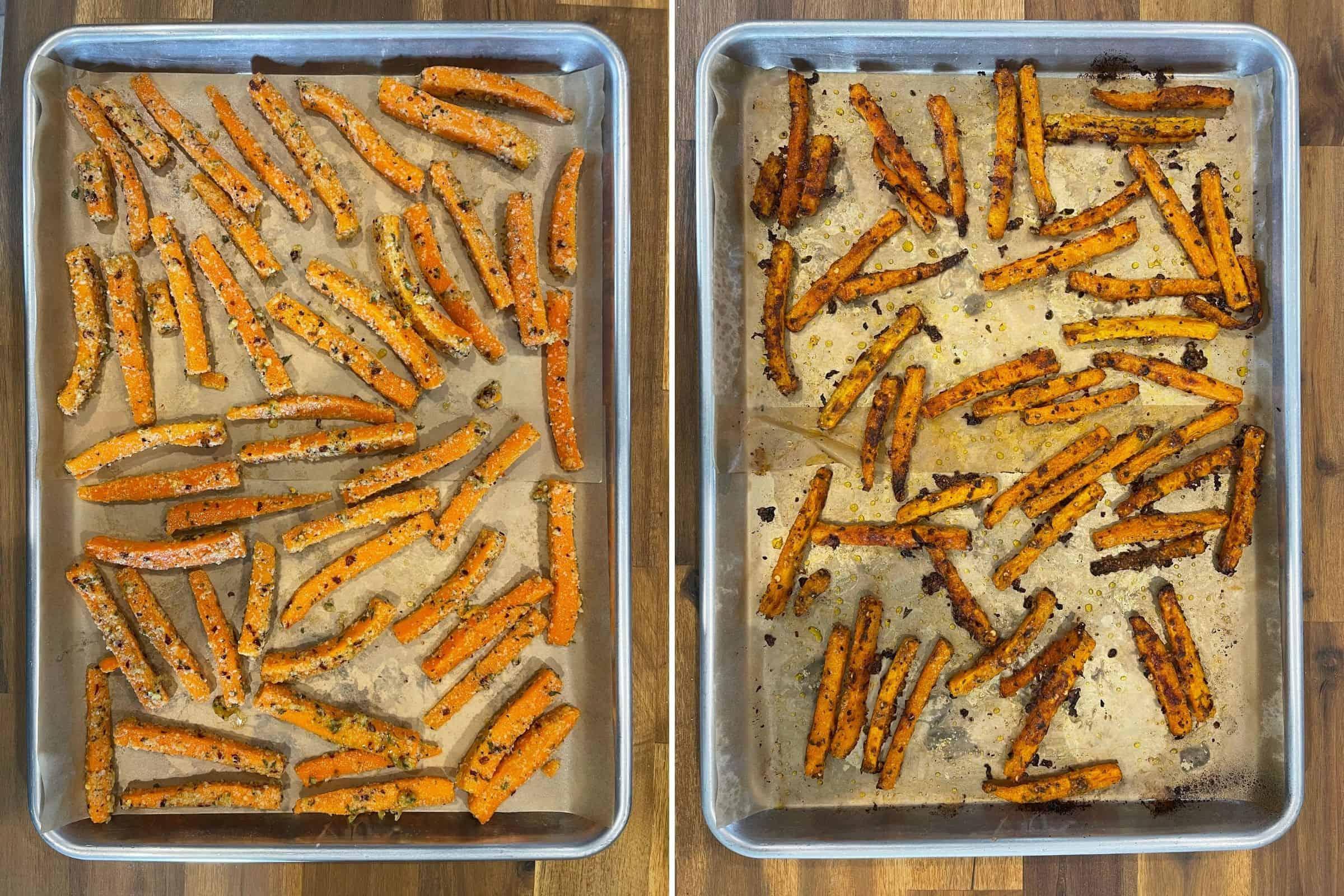 garlic parmesan carrot sticks before and after baking on a half sheet pan