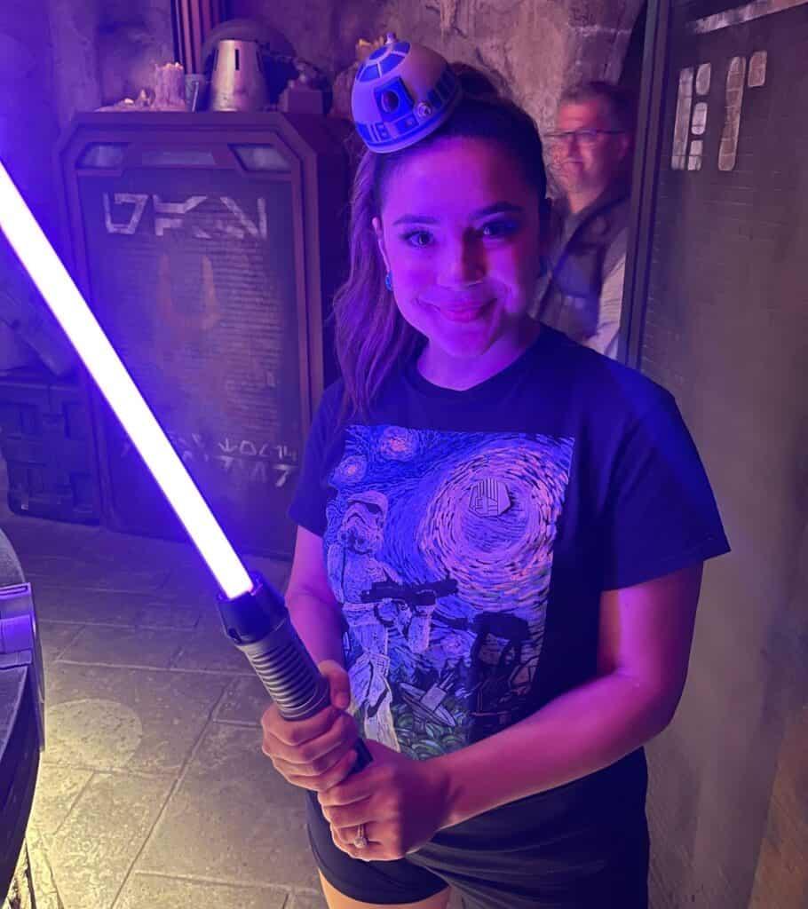 lightsaber inside Savi's Workshop at Galaxy's Edge