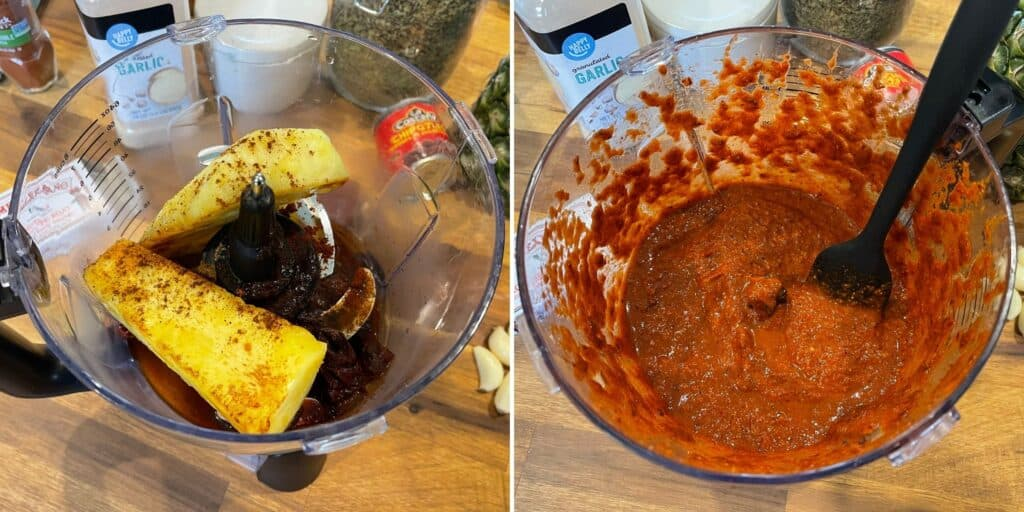 toasted pineapple, spices, and ingredients for al pastor sauce in a food processor