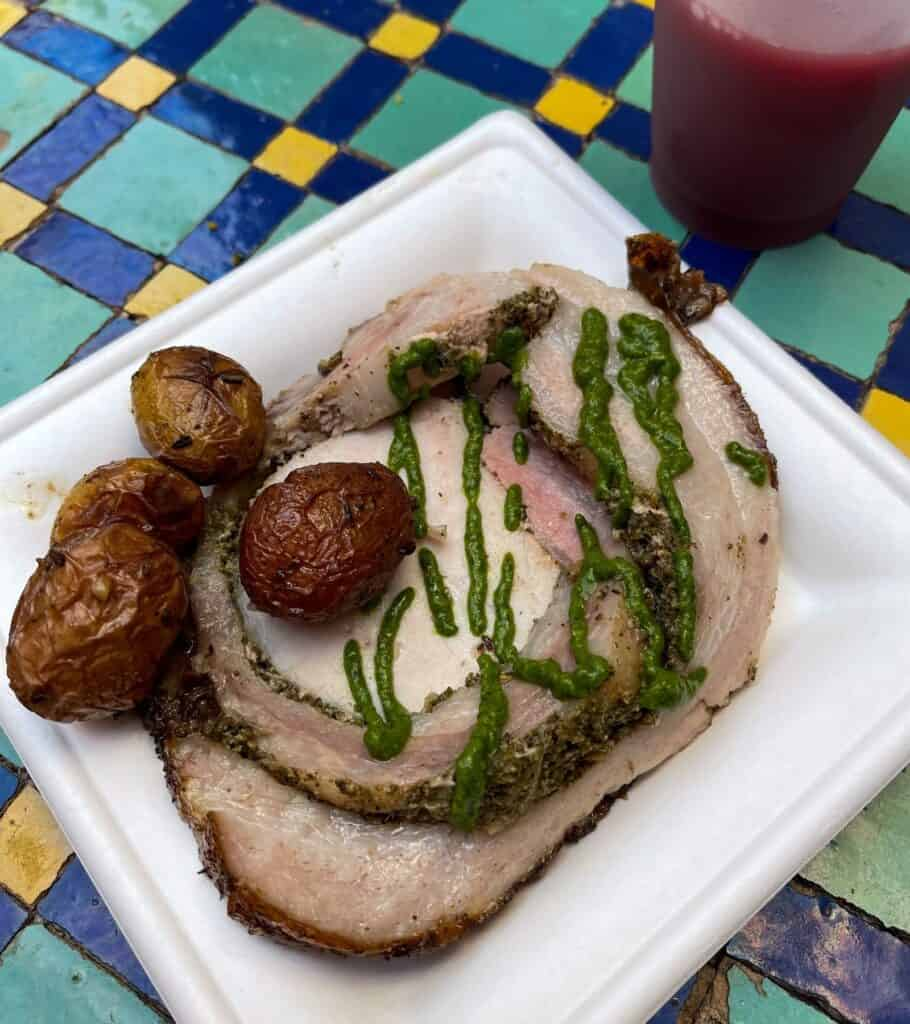 roasted porchetta with roasted potatoes