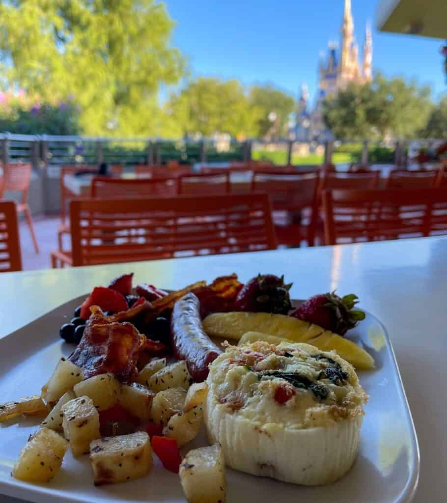 breakfast at Tomorrowland Terrace with Cinerella's Castle in the background