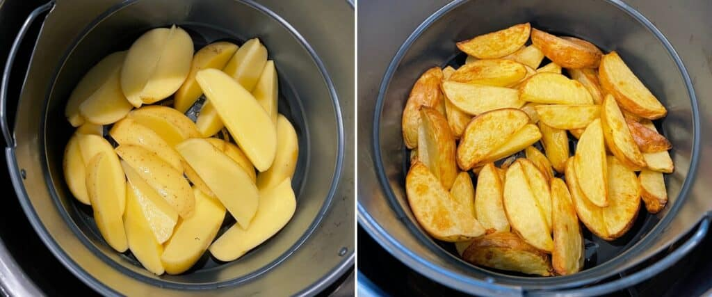 gold potato wedges in the air fryer basket before air frying with olive oil