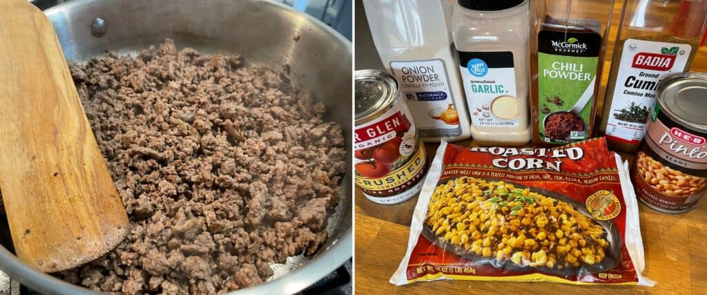 cooked ground beef in a skillet before adding frozen corn, canned tomatoes and pinto beans, garlic powder, chili powder, onion powder, and ground cumin