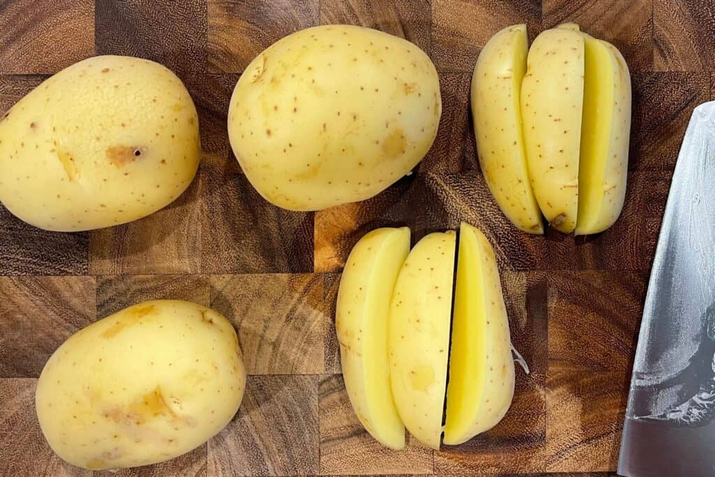 gold potatoes cut into wedges