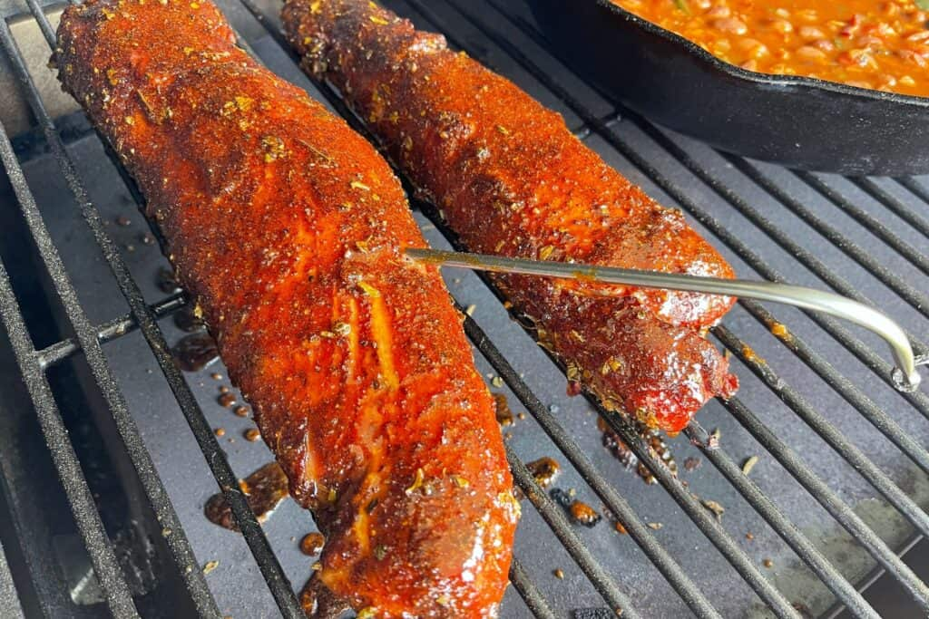 finished Mexican pork tenderloins with the Traeger probe inside
