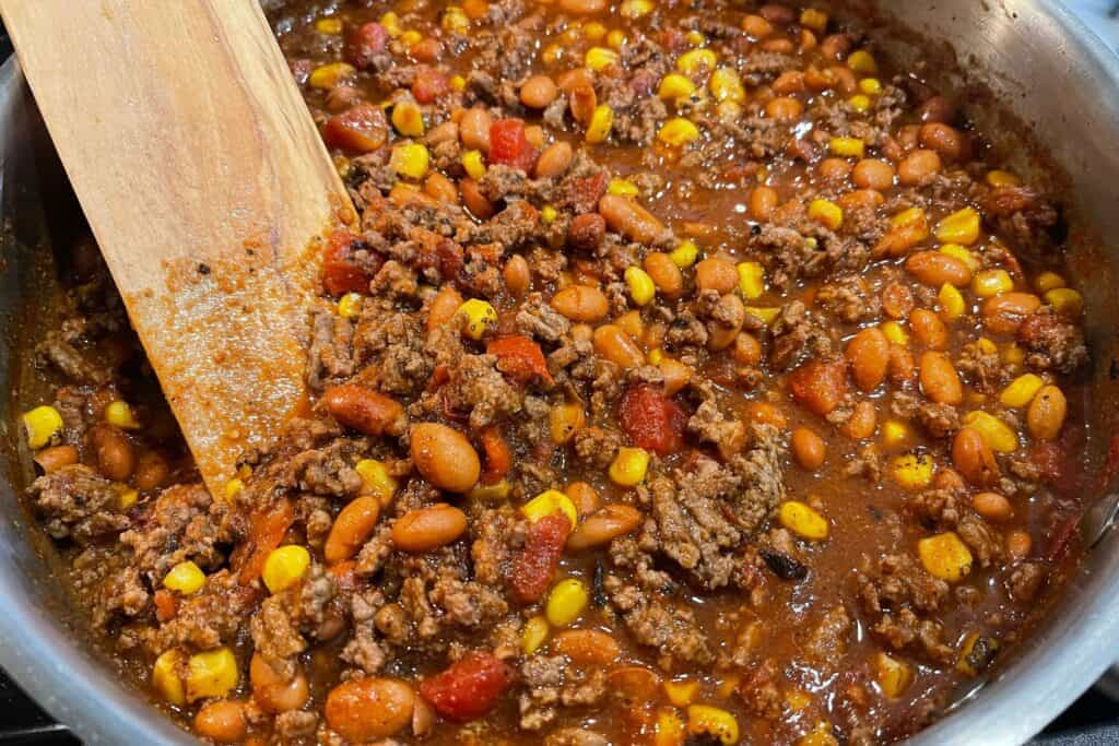 skillet with cooked taco pie filling