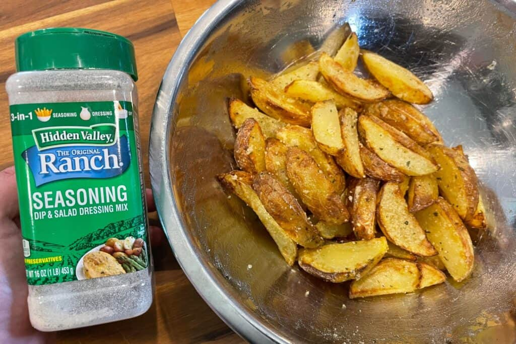 ranch seasoning added to the air fried potato wedges
