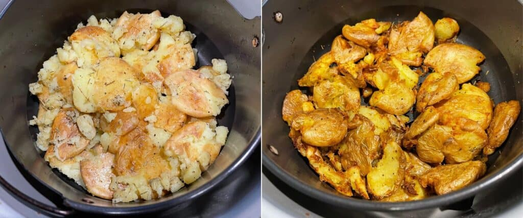 smashed potatoes before and after air frying a second time