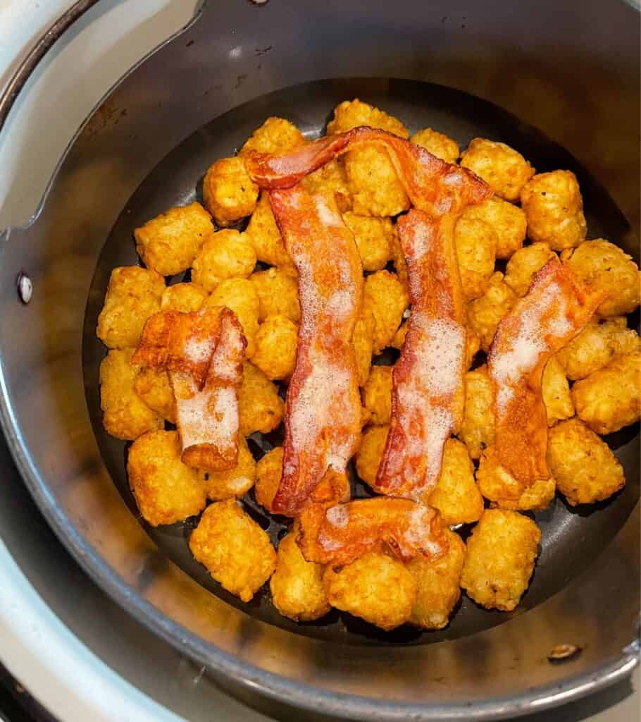 cooked bacon strips after 15 minutes in the air fryer