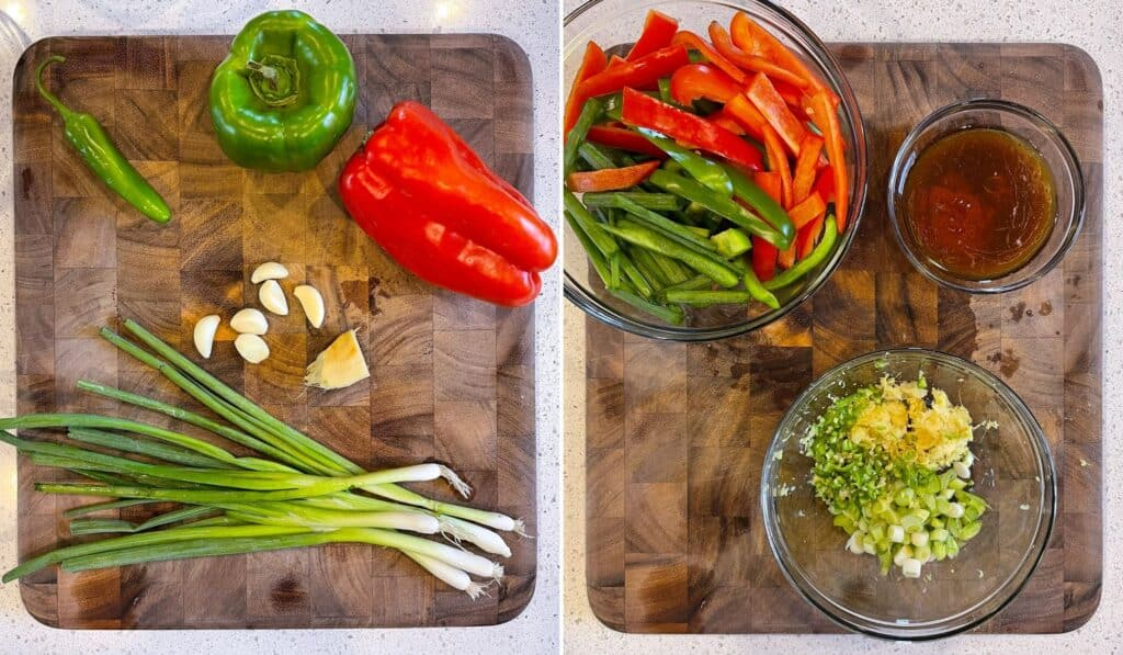 ingredients before and after prep