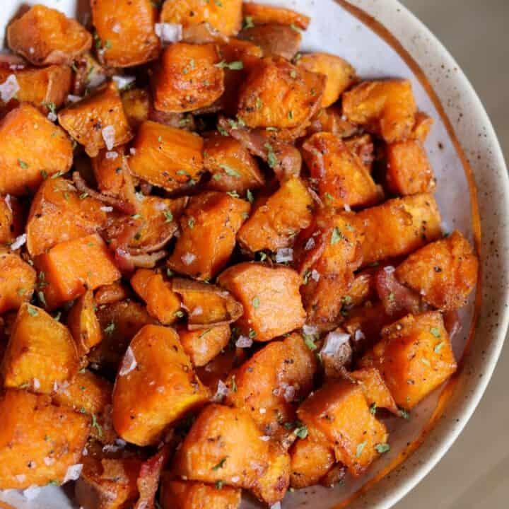 Maple Bacon Air Fryer Sweet Potatoes