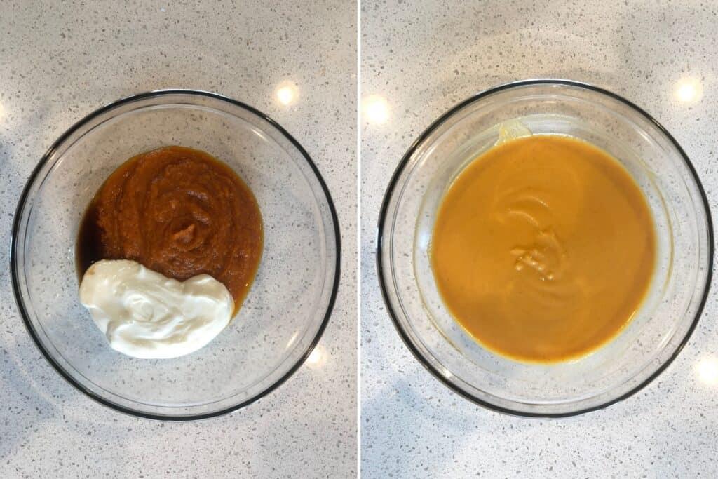 Pumpkin pie mix, Greek yogurt, and vanilla being mixed together.