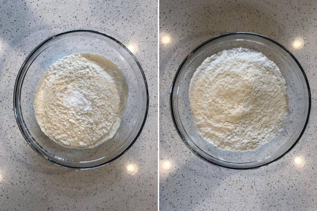 Sifted flour and baking soda being mixed together.