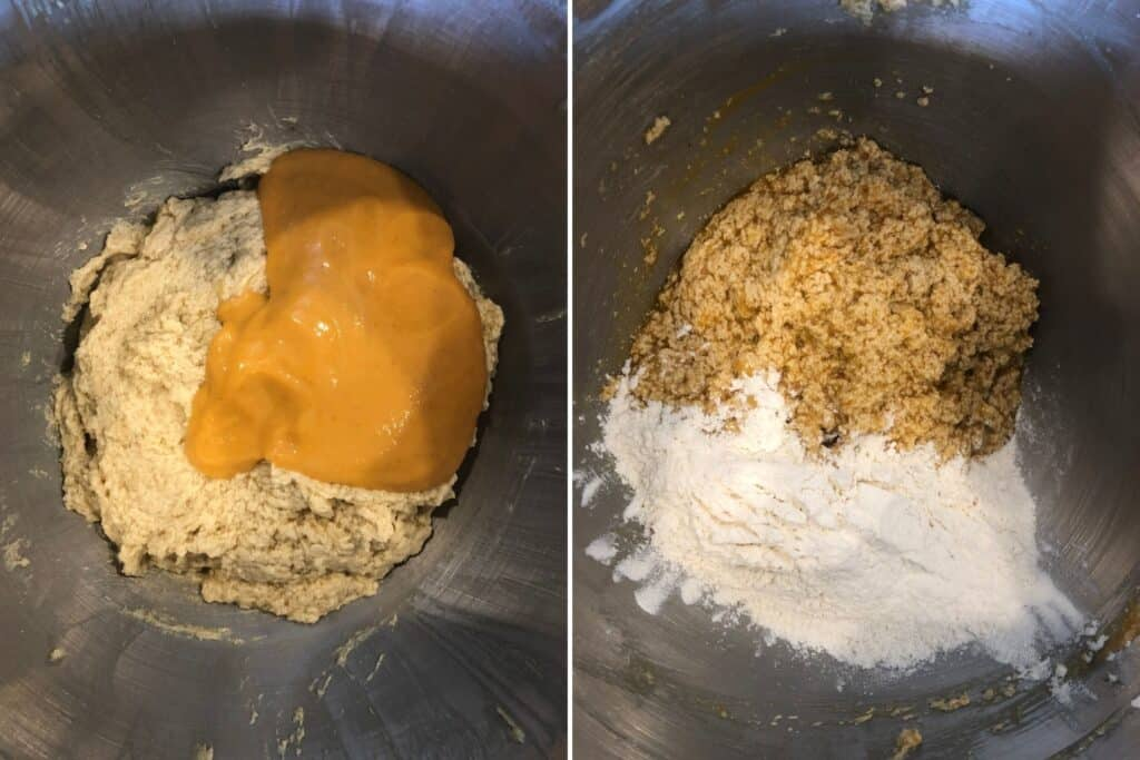 Pumpkin and flour mixtures being folded into the batter.