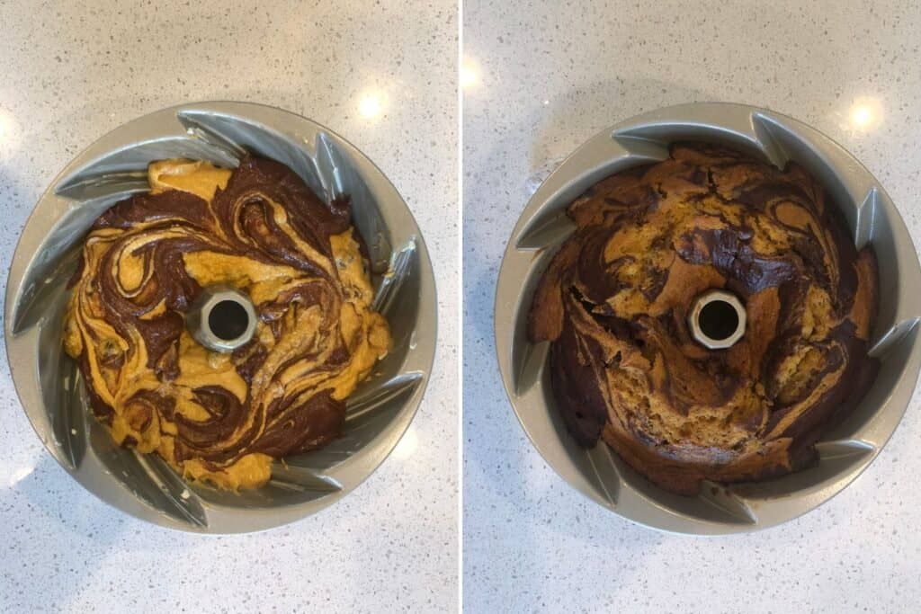 Left photo is cake before being baked. Right photo is cake after being baked.